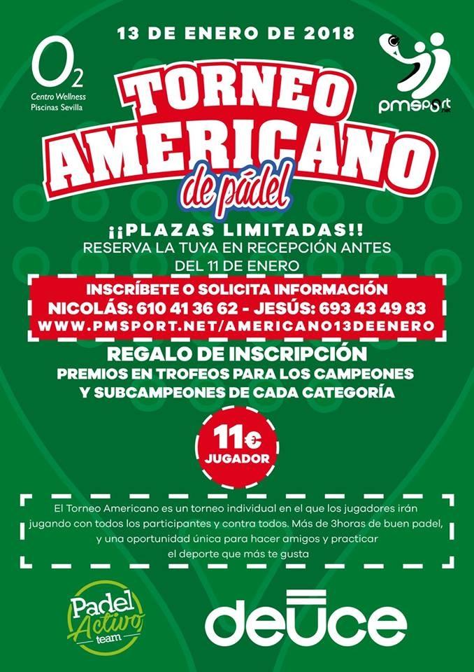 ITORNEO AMERICANO PADEL ENERO 2018(O2 CW PISCINAS SEVILLA)